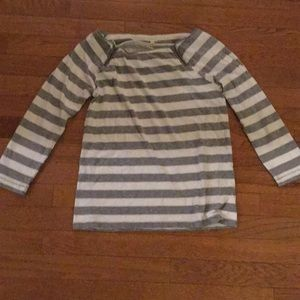 Striped long sleeve top with accent zippers